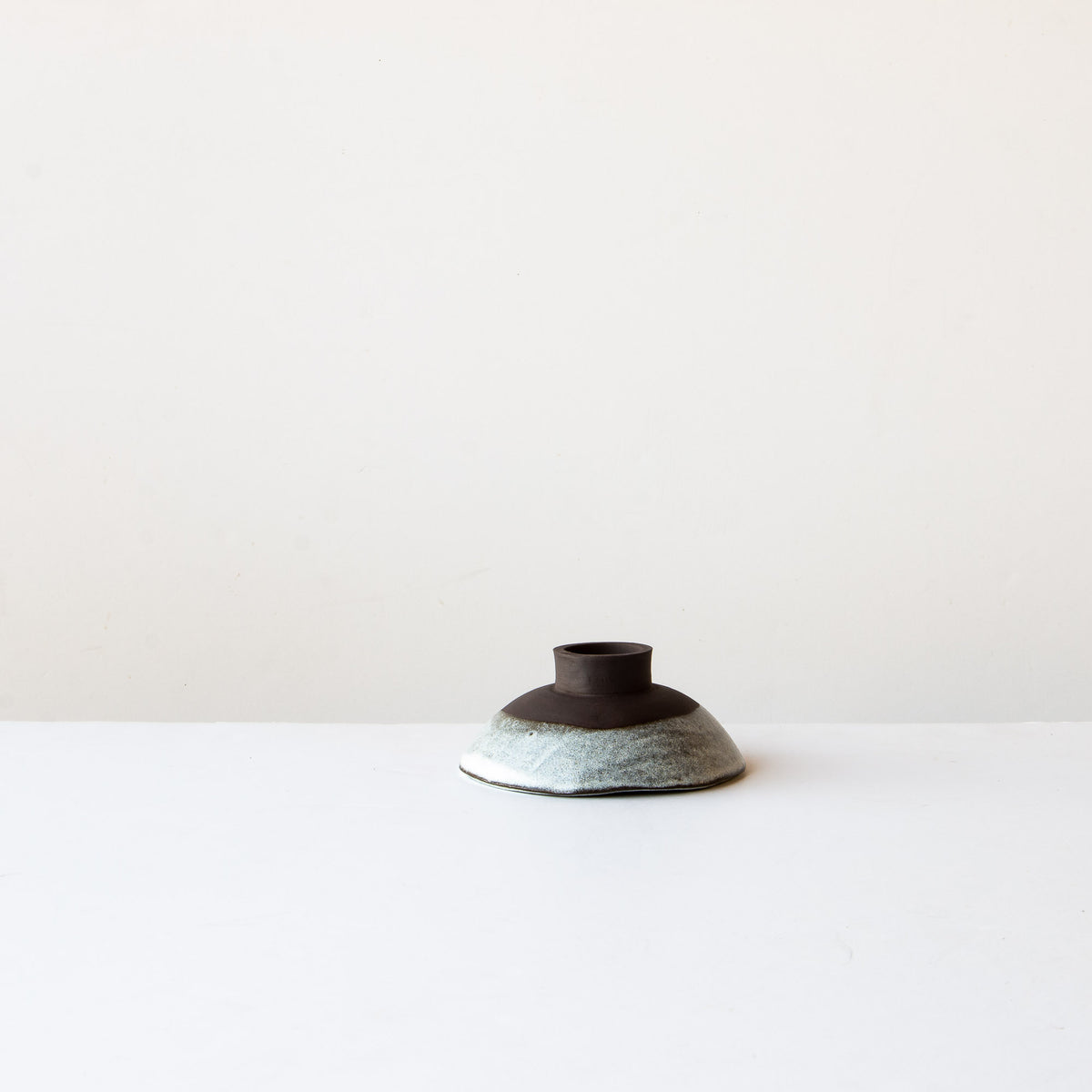 Upside Down Stoneware Small Miso Bowl - Grey & White - Sold by Chic & Basta