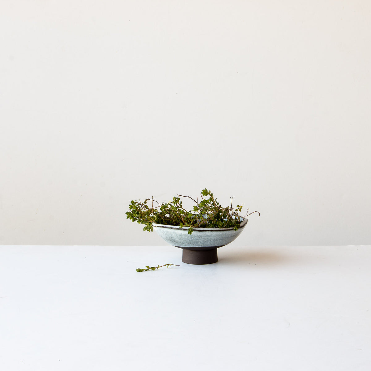 Handmade Stoneware Small Miso Bowl Shown with Thyme - Grey & White - Sold by Chic & Basta