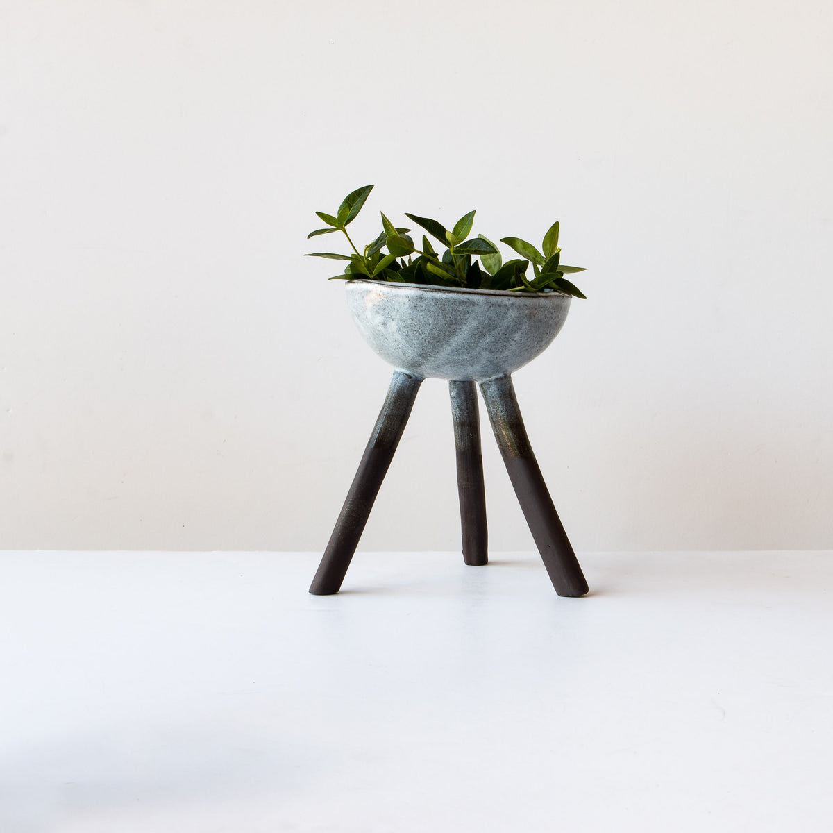 Handcrafted Ceramic Planter With 3 Legs - Grey & White - Sold by Chic & Basta