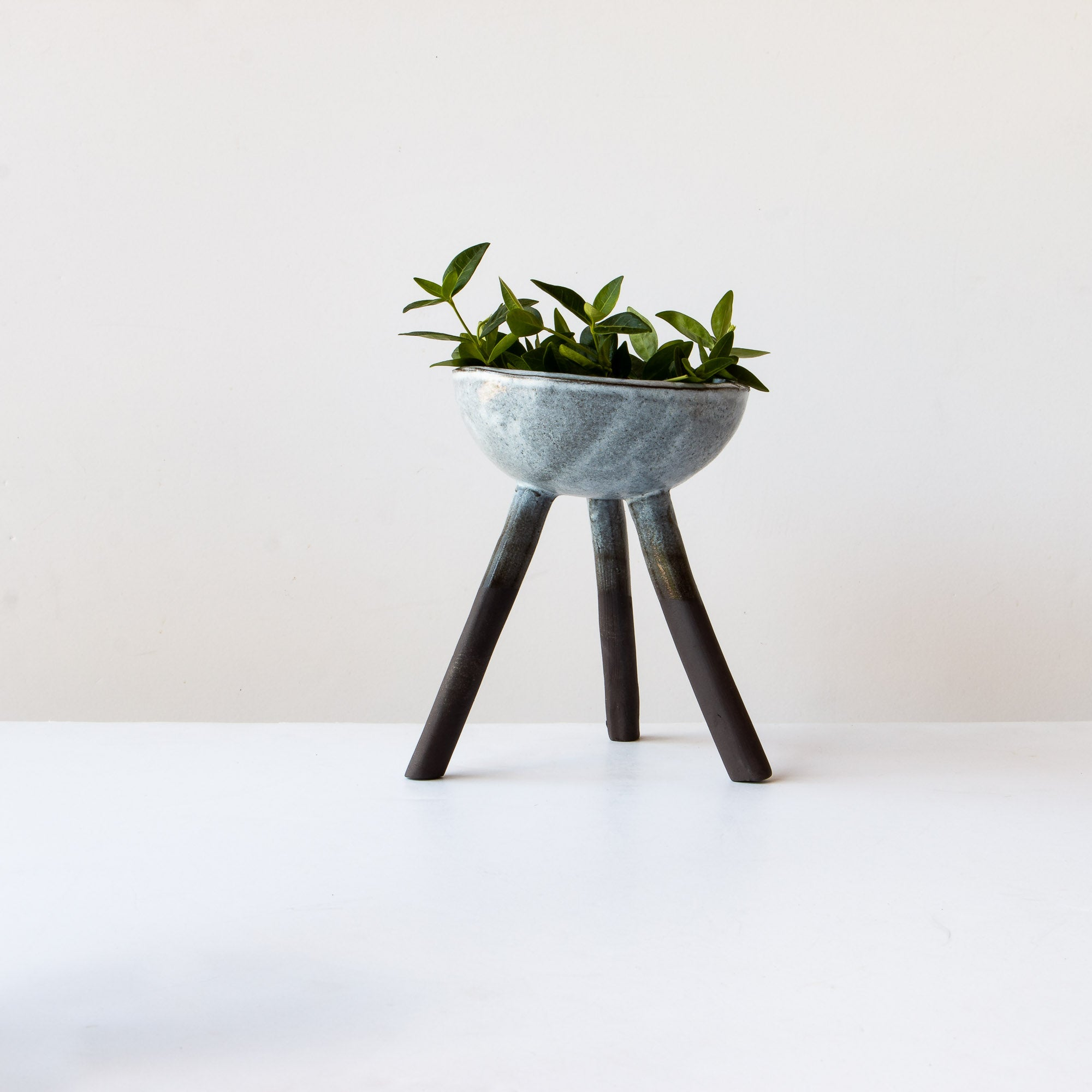 Handcrafted Stoneware Planter With 3 Legs - Grey & White - Sold by Chic & Basta
