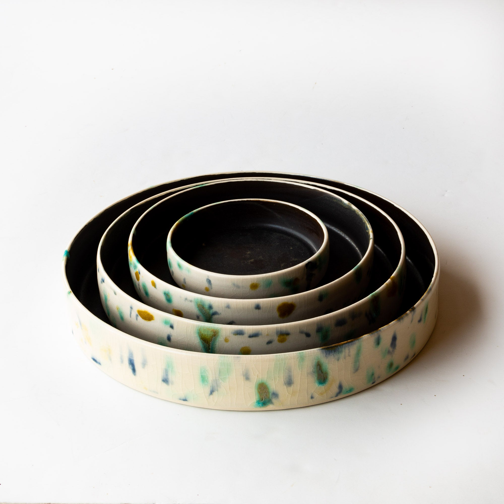 Top View - Hanabira - Set of Four Round Ceramic Trays- Sold by Chic & Basta
