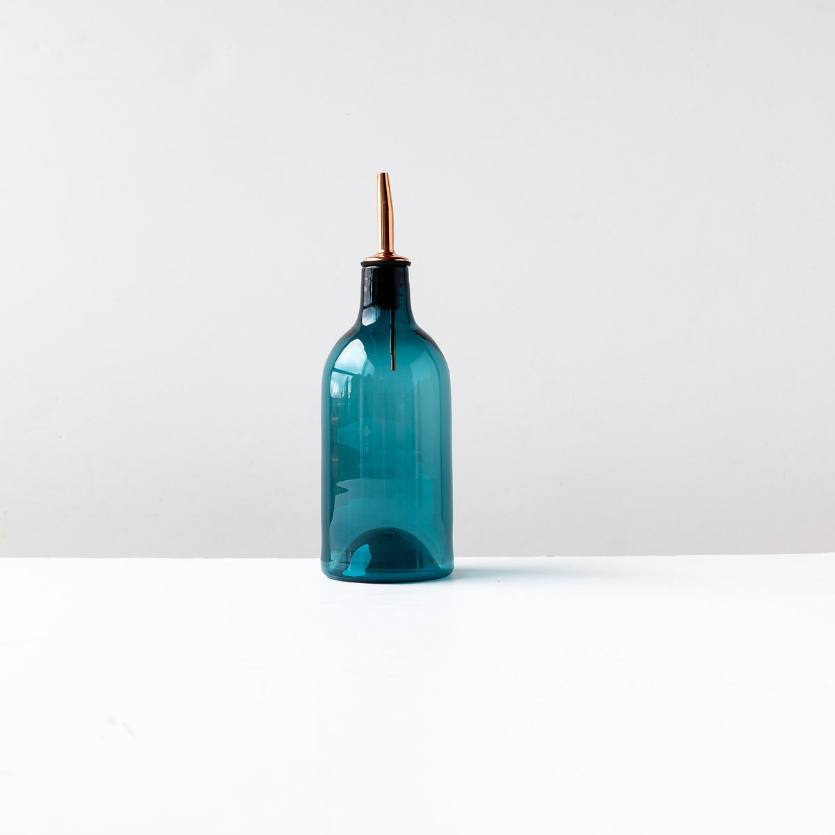 Blue Hand-blown Glass Oil / Vinegar Bottle- Sold by Chic & Basta