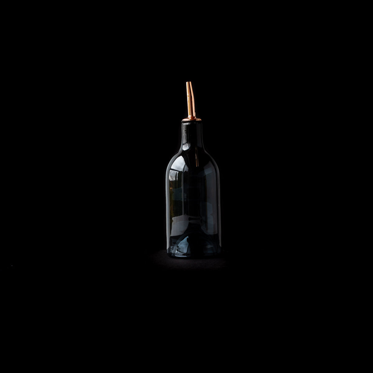 Grey Hand-blown Glass Oil / Vinegar Bottle on Black Background - Sold by Chic & Basta