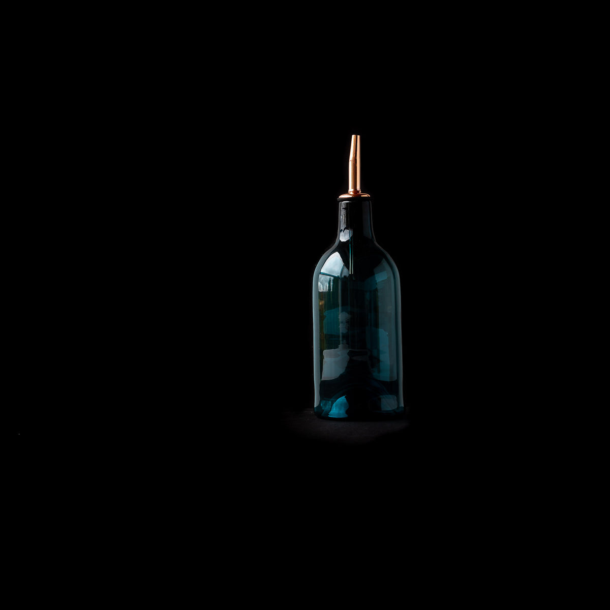 Blue Hand-blown Glass Oil / Vinegar Bottle on Black Background - Sold by Chic & Basta
