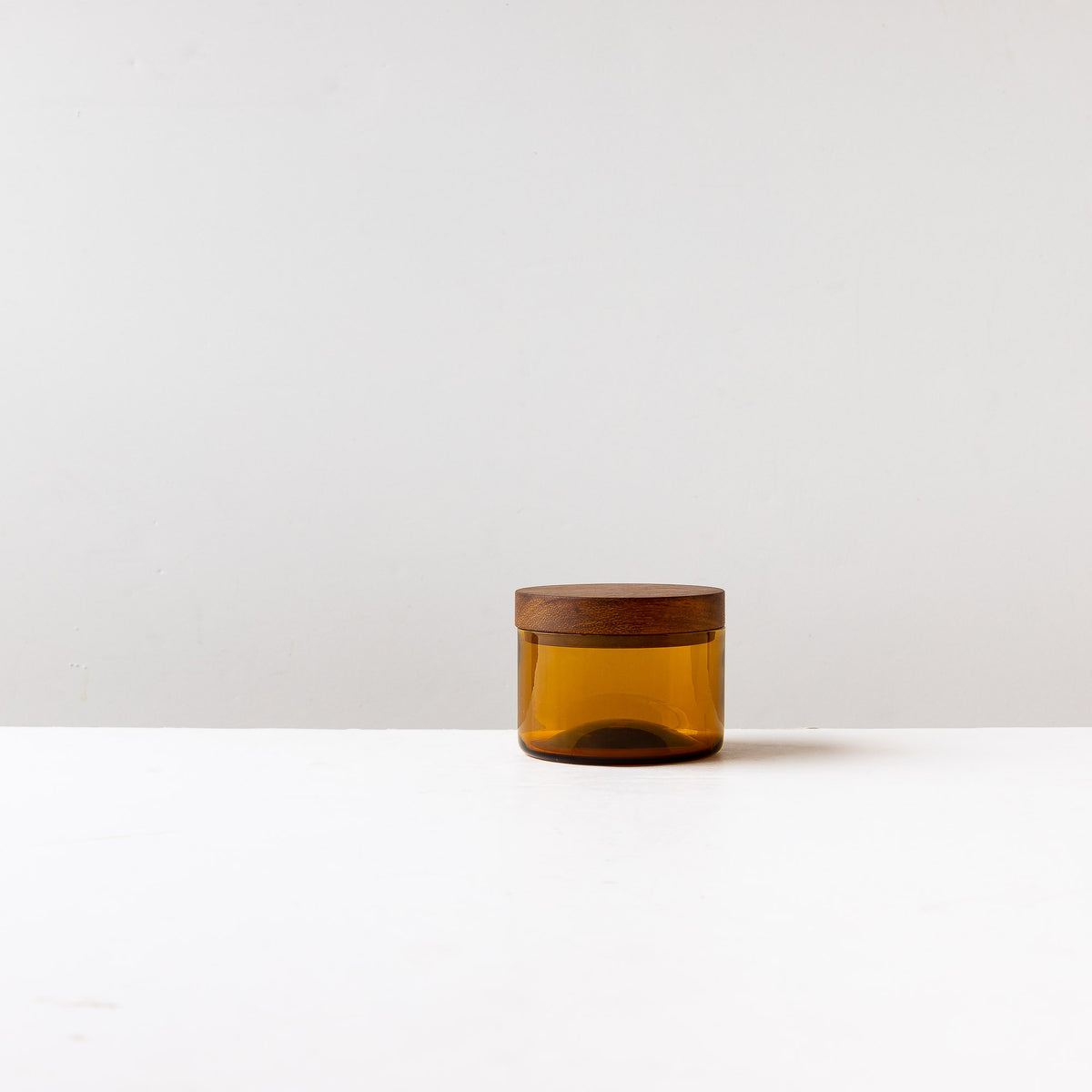 Amber Hand-blown Salt Cellar With Black Walnut Cover - Sold by Chic & Basta