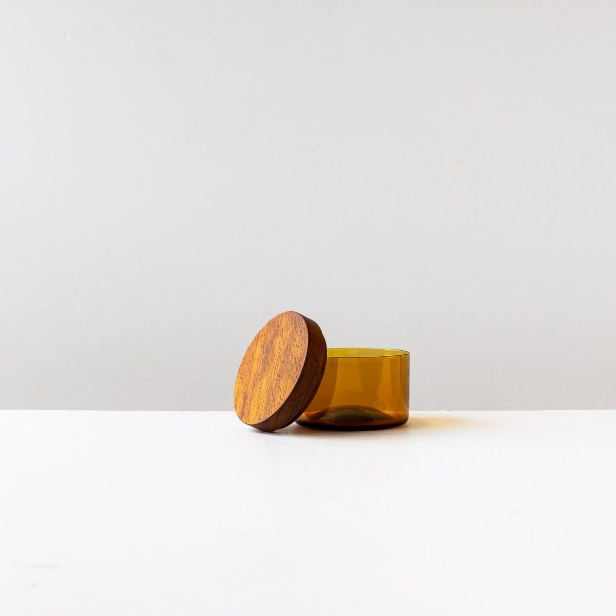 Cover Detail - Amber Hand-blown Salt Cellar With Black Walnut Cover - Sold by Chic & Basta