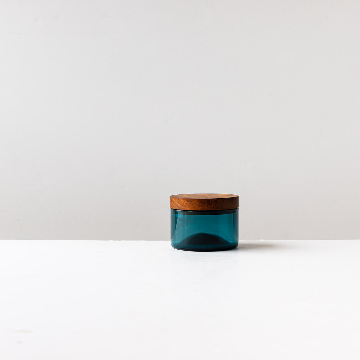 Blue Hand-blown Salt Cellar With Black Walnut Cover - Sold by Chic & Basta