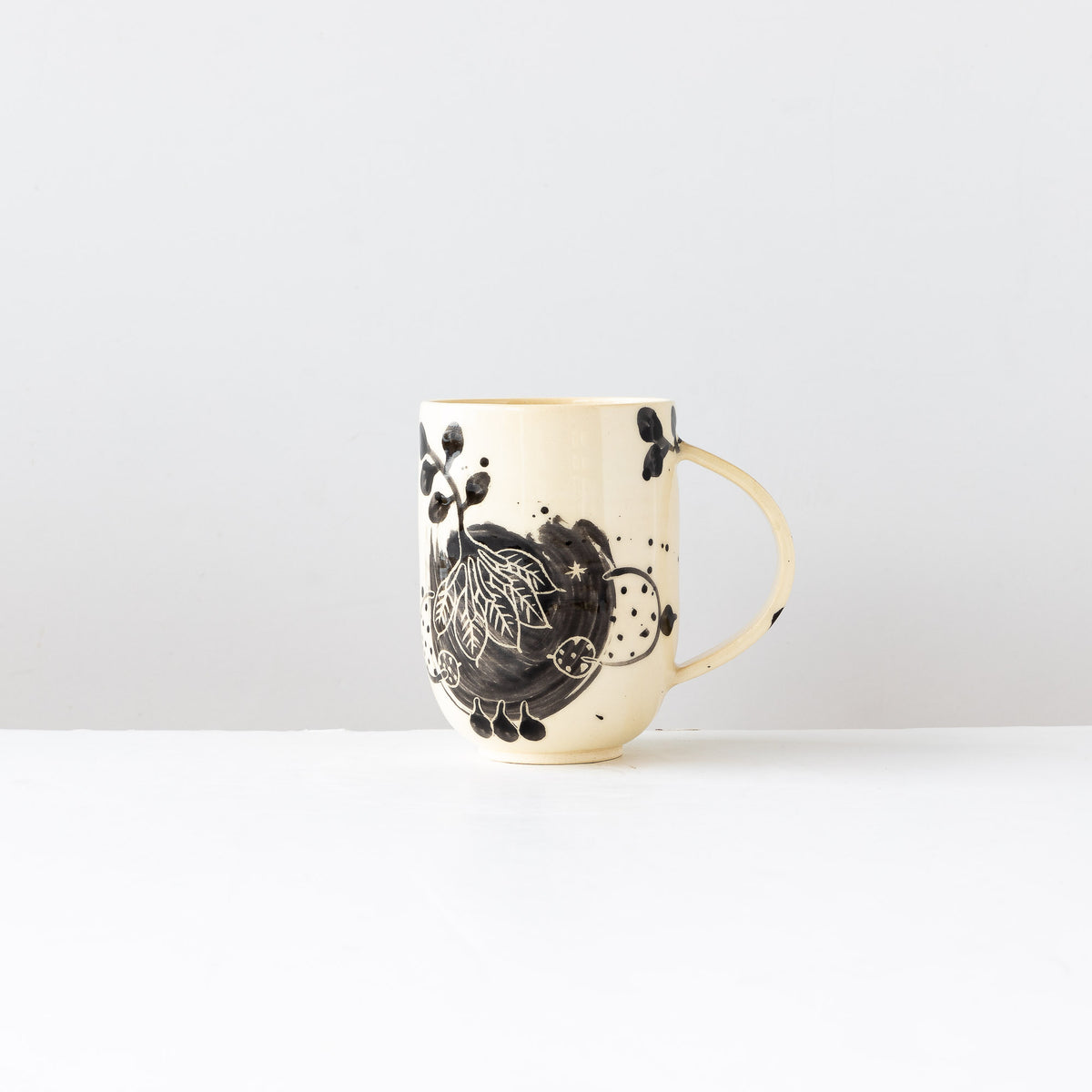 One Large Hand Painted Earthenware Mug - Sold by Chic & Basta