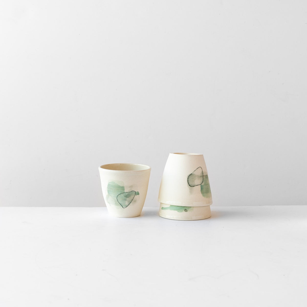 Three Hand Painted Porcelain Tumblers with Green Pattern - Sold by Chic & Basta