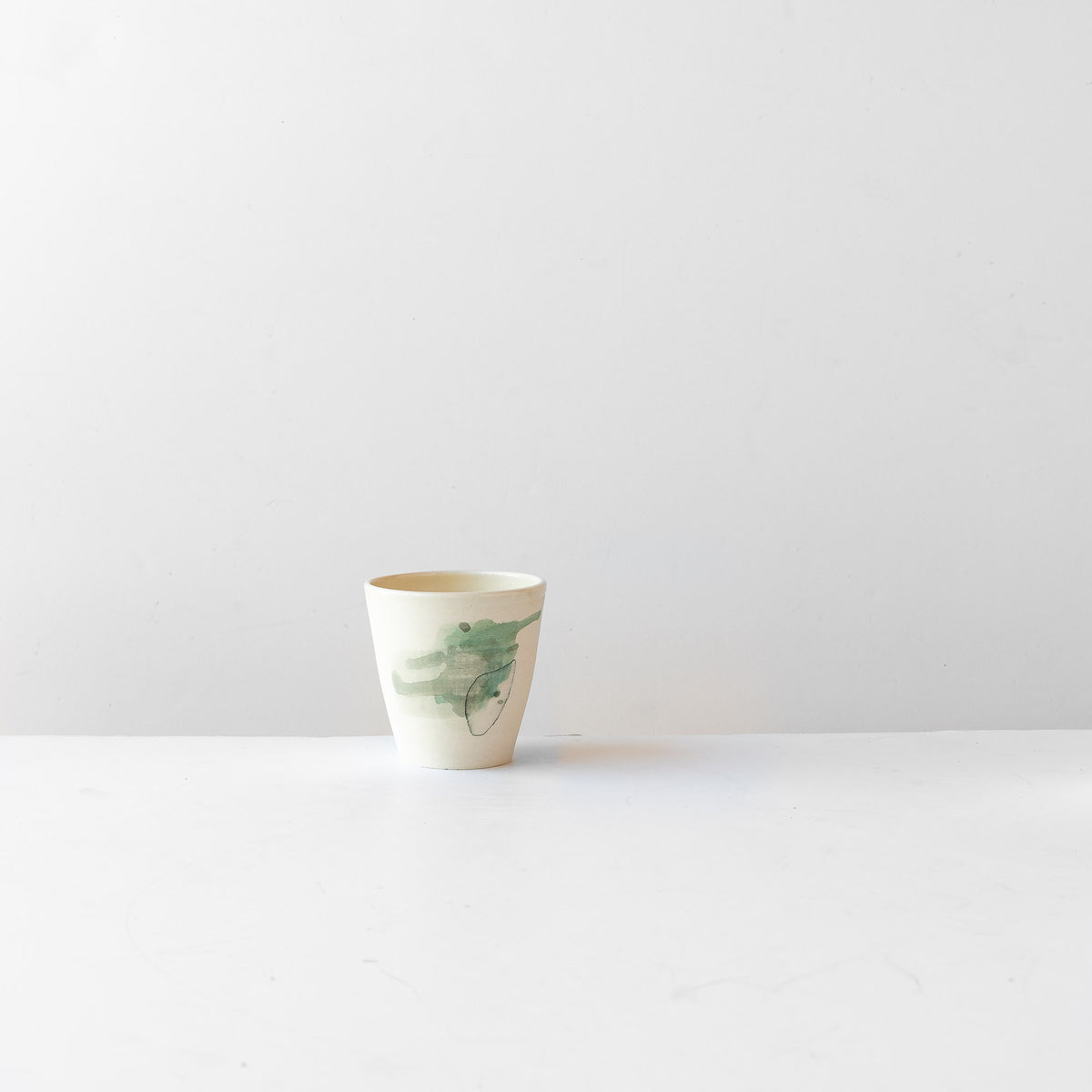 Hand Painted Porcelain Tumbler with Green Pattern - Sold by Chic & Basta