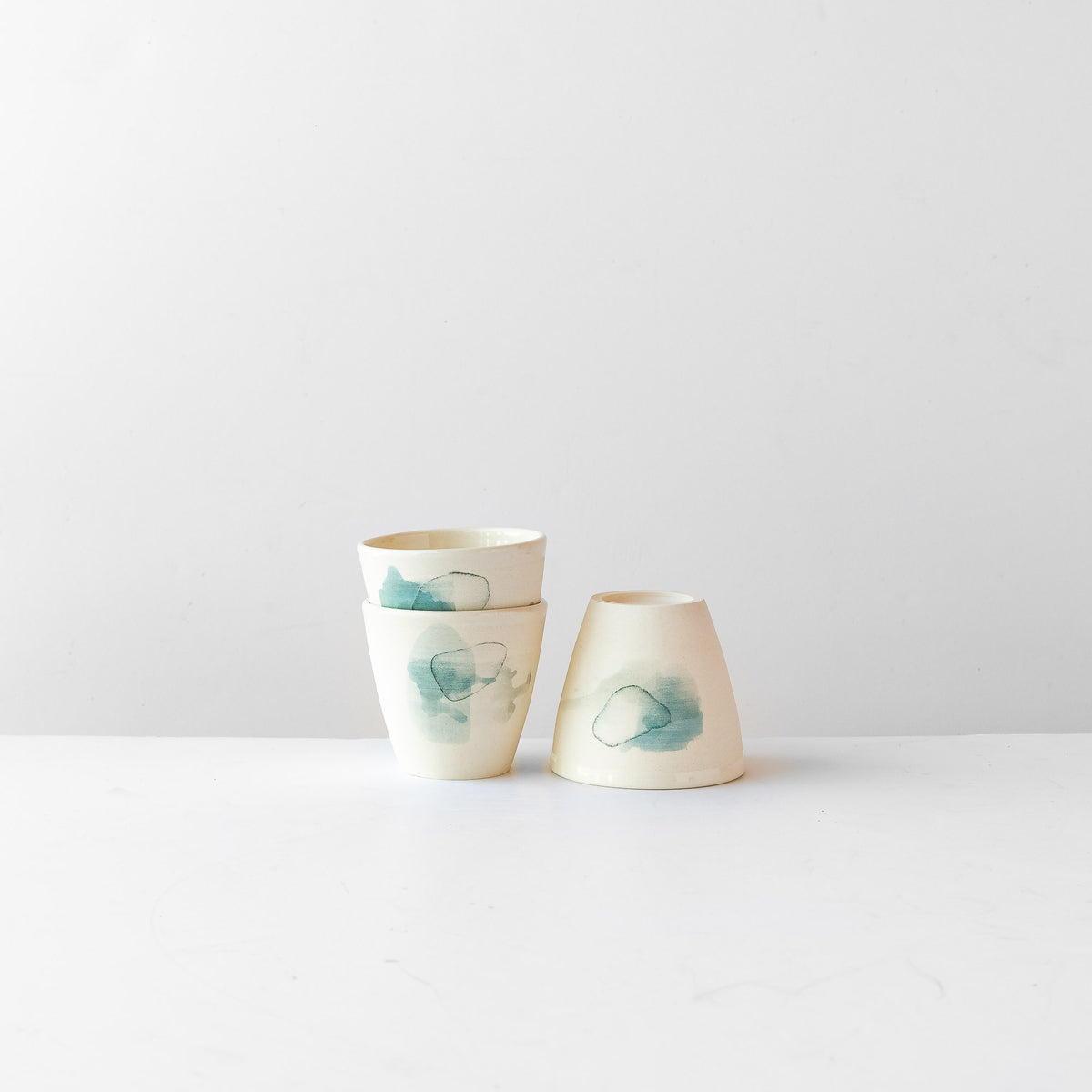 Three Hand Painted Porcelain Tumblers with Blue Pattern - Sold by Chic & Basta