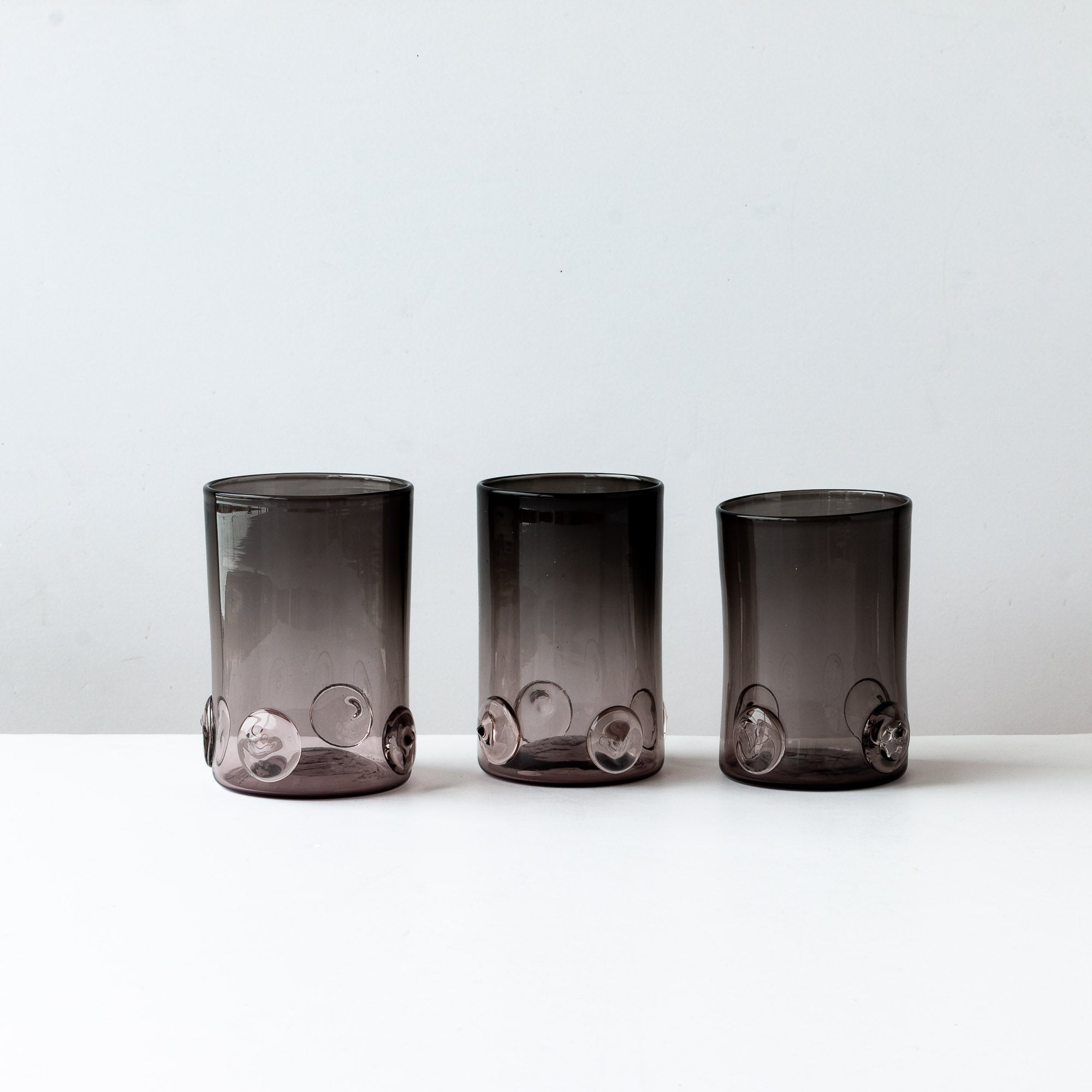 Handblown Smoke Gray Drinking Glass With Applied Droplet Decoration - Sold by Chic & Basta