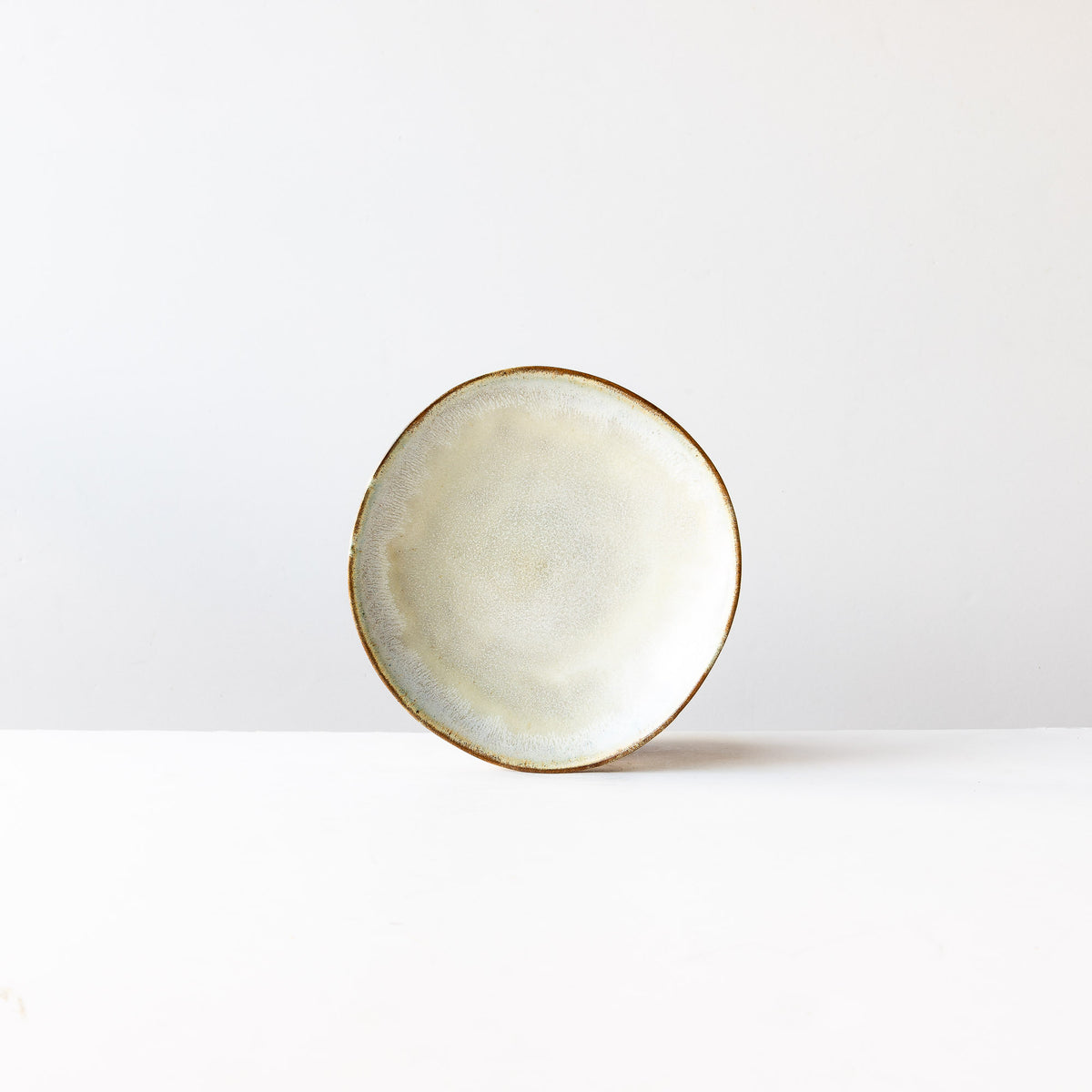 Medium Handbuilt Plate in Red Stoneware & Cream Glaze - Sold by Chic & Basta
