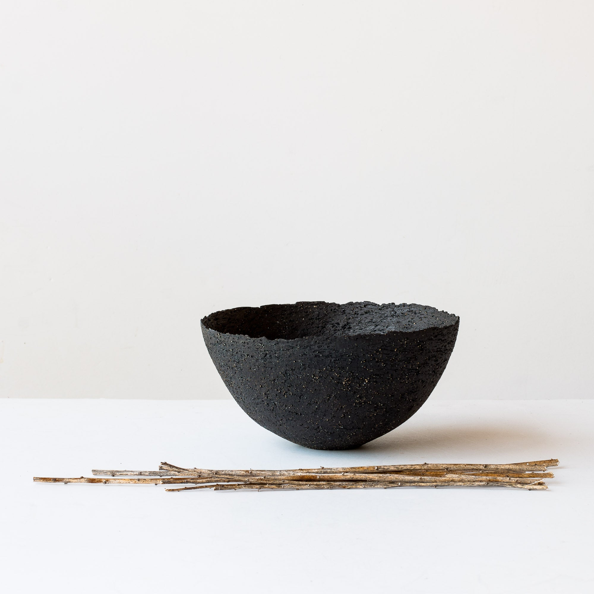 Coquilles - Handbuilt Stoneware Bowl in Black Stoneware - Sold by Chic & Basta