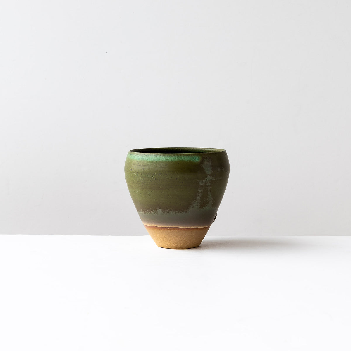 Kaki Green & Terracotta Flower Vase Handmade in Stoneware - Sold by Chic & Basta