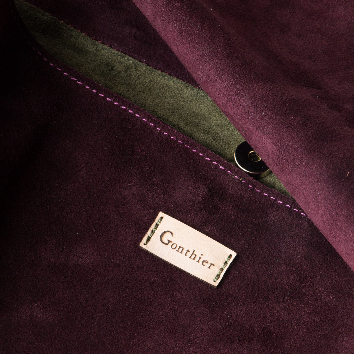 Detail - Bordeaux & Khaki - Handmade Flap Purse in Calf Suede & Pork Suede Lining - Sold by Chic & Basta