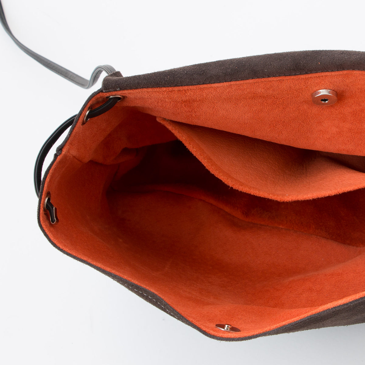 Interior Detail - Greystone & Orange - Handmade Flap Purse in Calf Suede & Pork Suede Lining - Sold by Chic & Basta