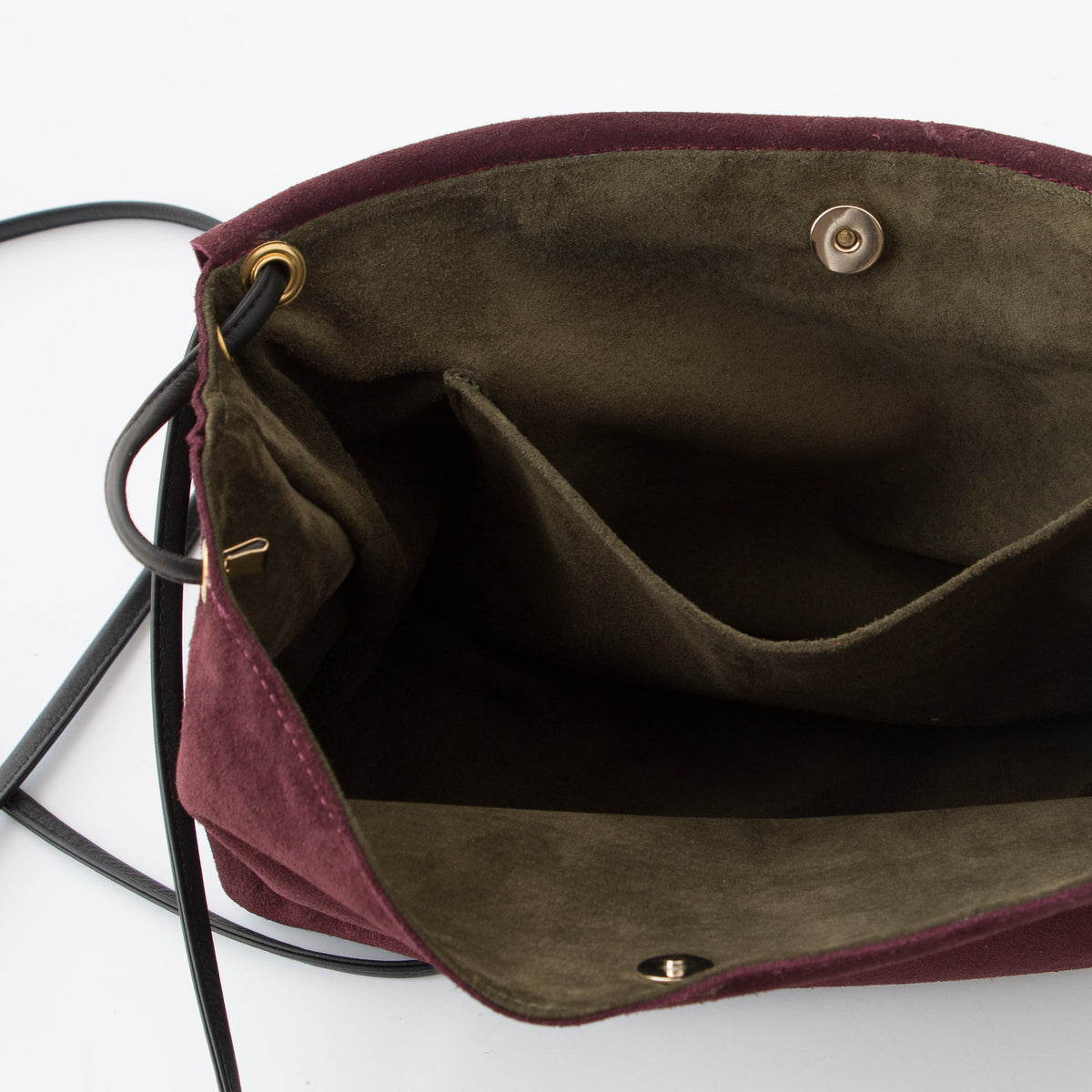 Interior Detail - Bordeaux & Khaki - Handmade Flap Purse in Calf Suede & Pork Suede Lining - Sold by Chic & Basta