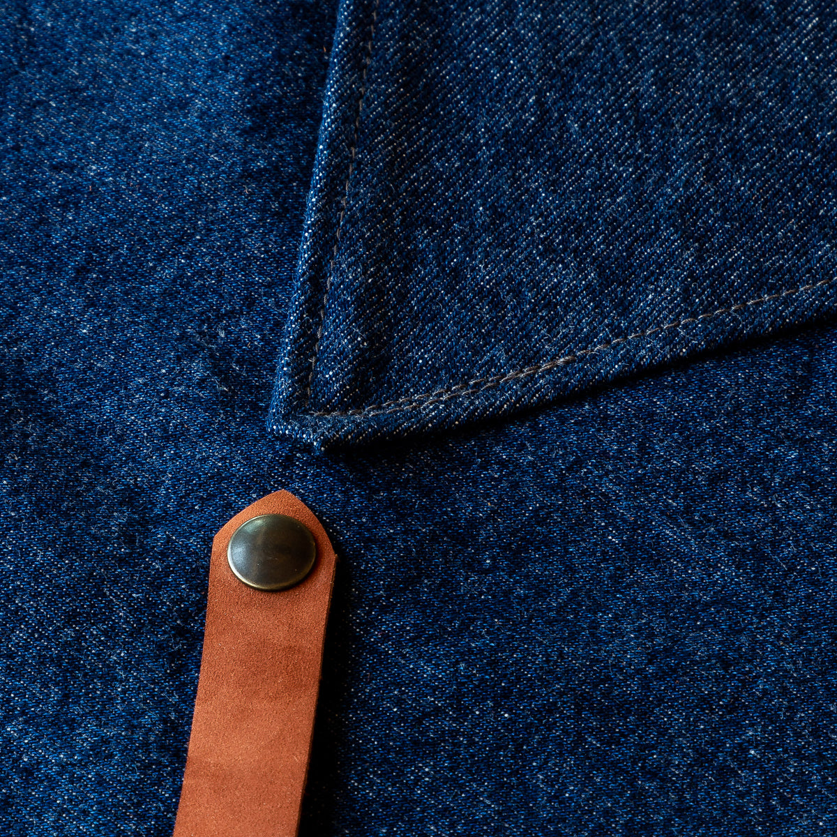 Detail View - Handmade Sturdy Workshop & Gardening Apron in Denim & Leather - Sold by Chic & Basta