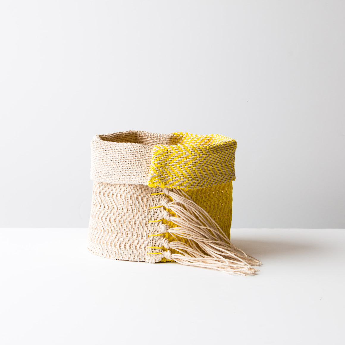 Light Blue & Ecru - Hemp Table Basket (Medium) - Handwoven in Montreal, Quebec, Canada - Sold by Chic & Basta
