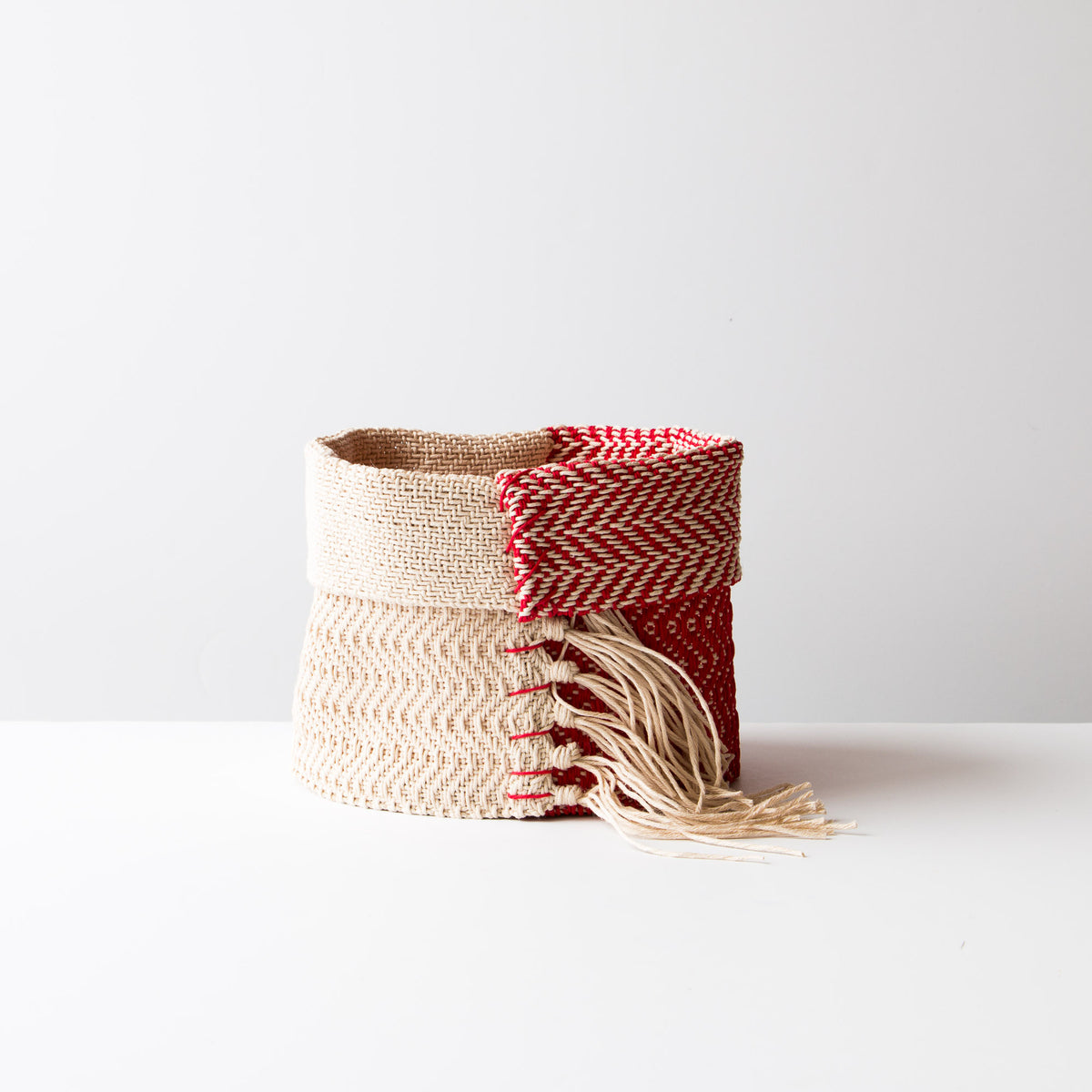 Red & Ecru - Hemp Table Basket (Medium) - Handwoven in Montreal, Quebec, Canada - Sold by Chic & Basta