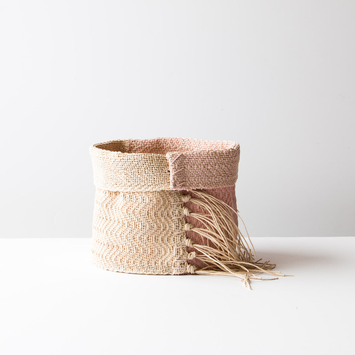 Pink & Ecru - Hemp Table Basket (Medium) - Handwoven in Montreal, Quebec, Canada - Sold by Chic & Basta