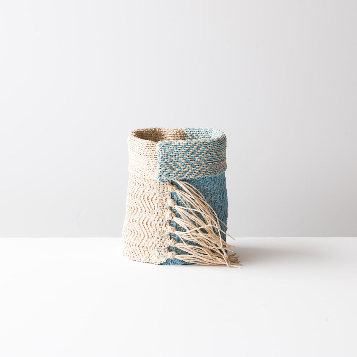 Light Blue and Ecru Hemp Table Basket (Small) - Handmade in Canada
