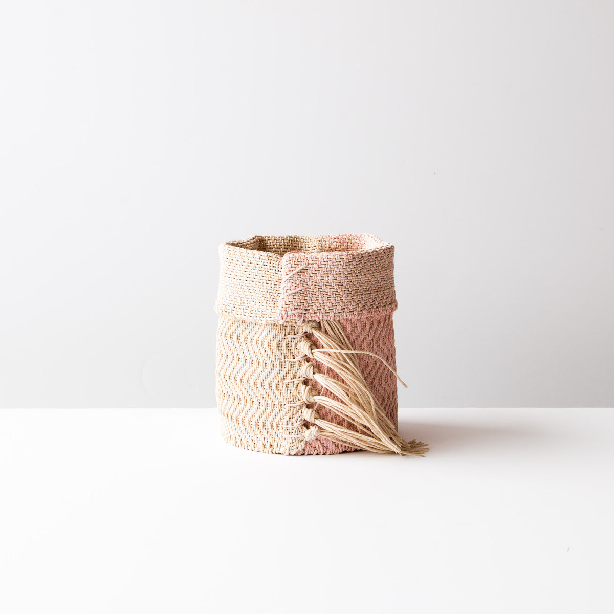 Pink and Ecru Hemp Table Basket (Small) - Handmade in Canada