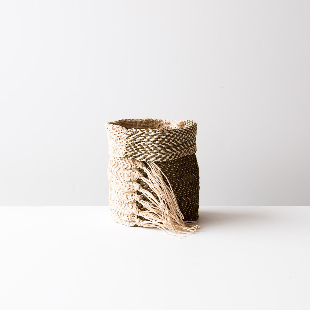 Kaki and Ecru Hemp Table Basket (Small) - Handmade in Canada