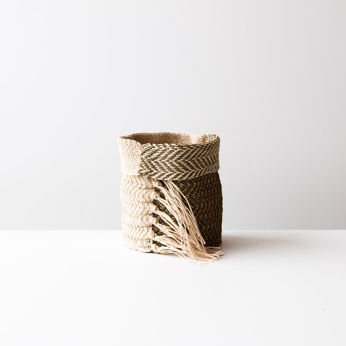 Black and Ecru Hemp Table Basket (Small) - Handmade By Monique Ste-Marie