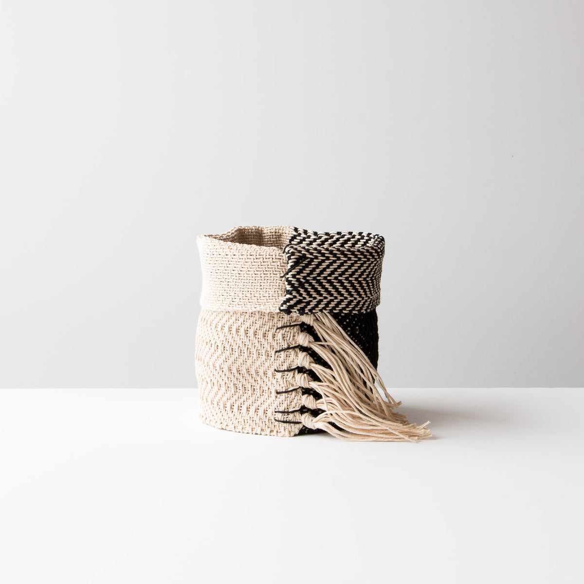 Black and Ecru Hemp Table Basket (Small) - Handmade in Canada