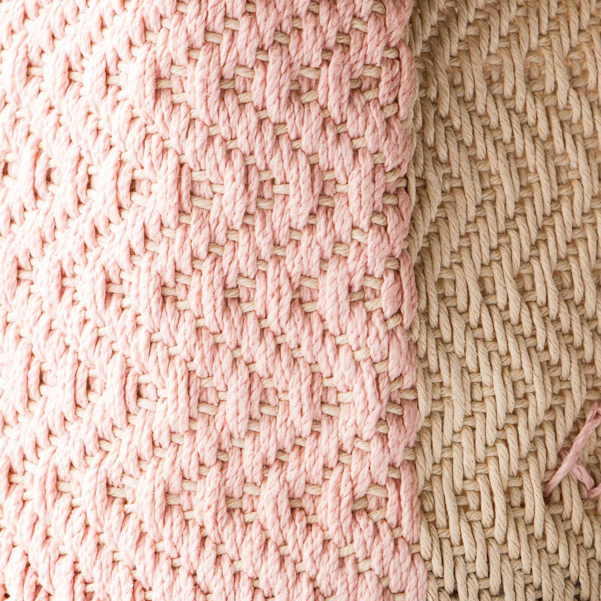 Detail of Pink & Ecru - Hemp Table Basket (Medium) - Handwoven in Montreal, Quebec, Canada - Sold by Chic & Basta