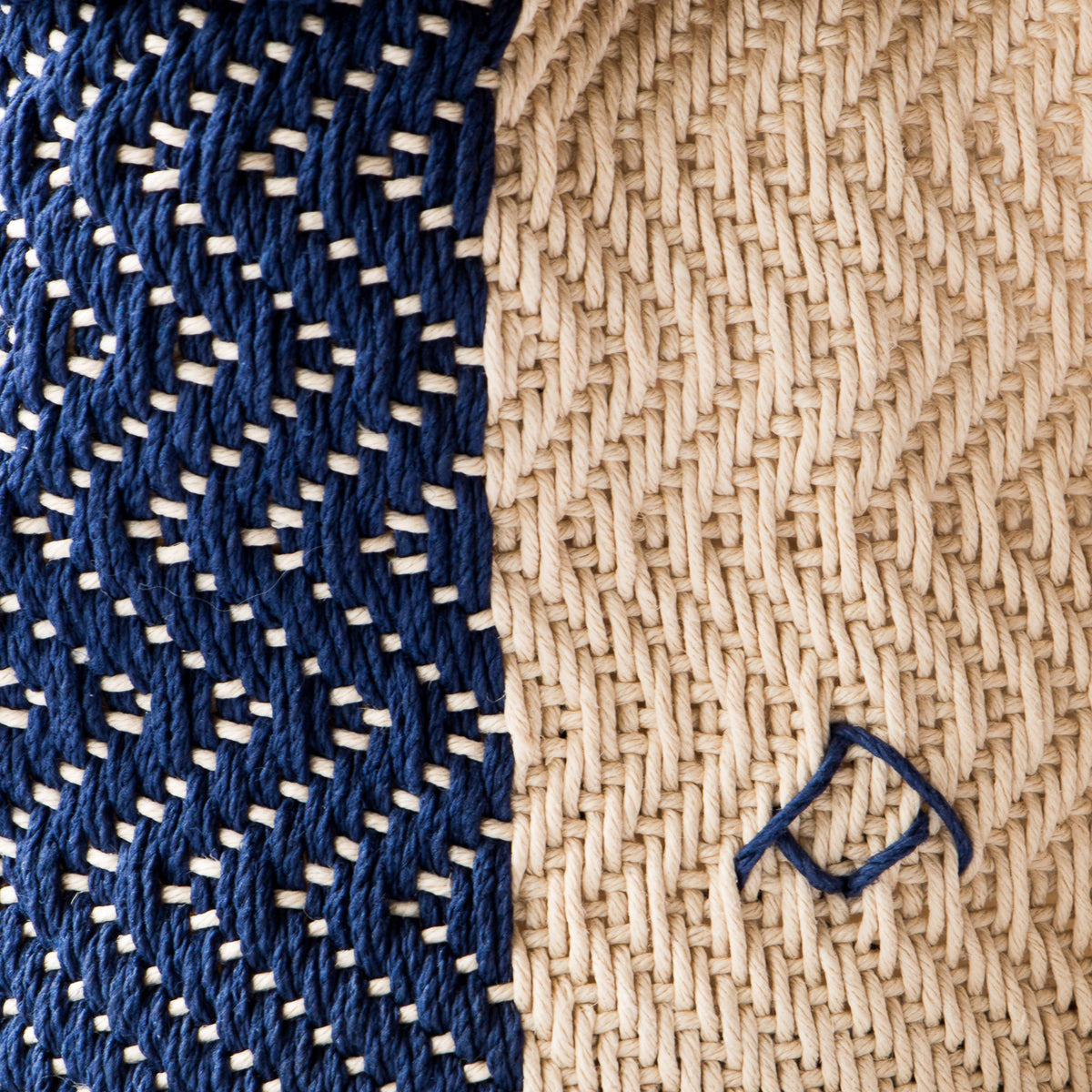 Detail of Marine & Ecru - Hemp Table Basket (Medium) - Handwoven in Montreal, Quebec, Canada - Sold by Chic & Basta