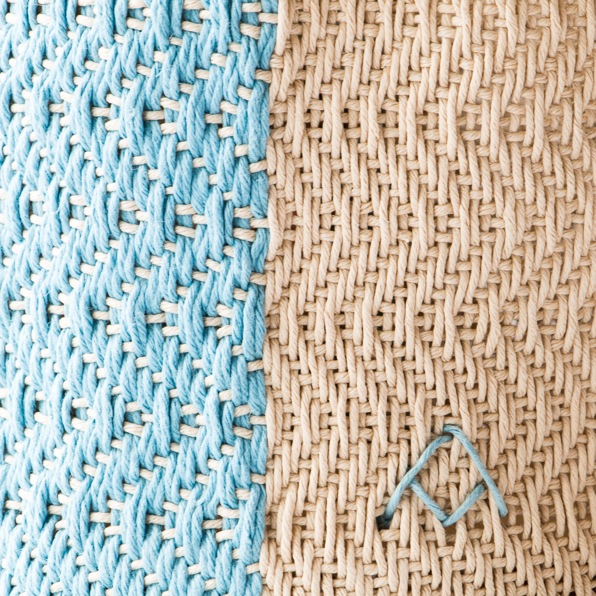 Detail of Light Blue & Ecru - Hemp Table Basket (Medium) - Handwoven in Montreal, Quebec, Canada - Sold by Chic & Basta