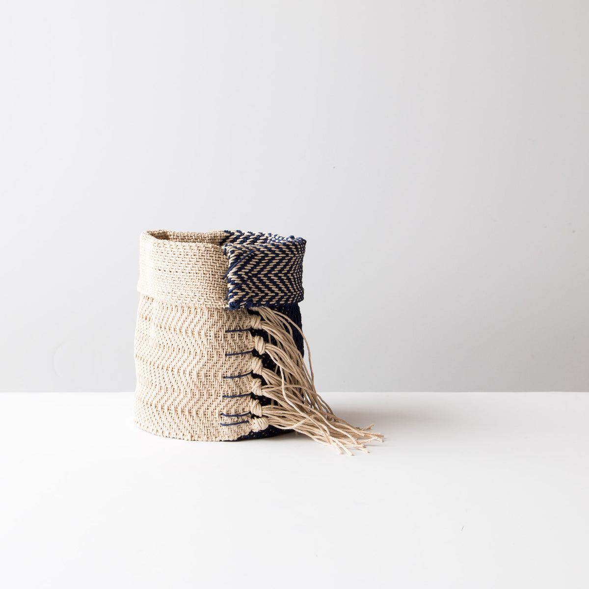 Marine and Ecru Hemp Table Basket (Small) - Handmade in Canada