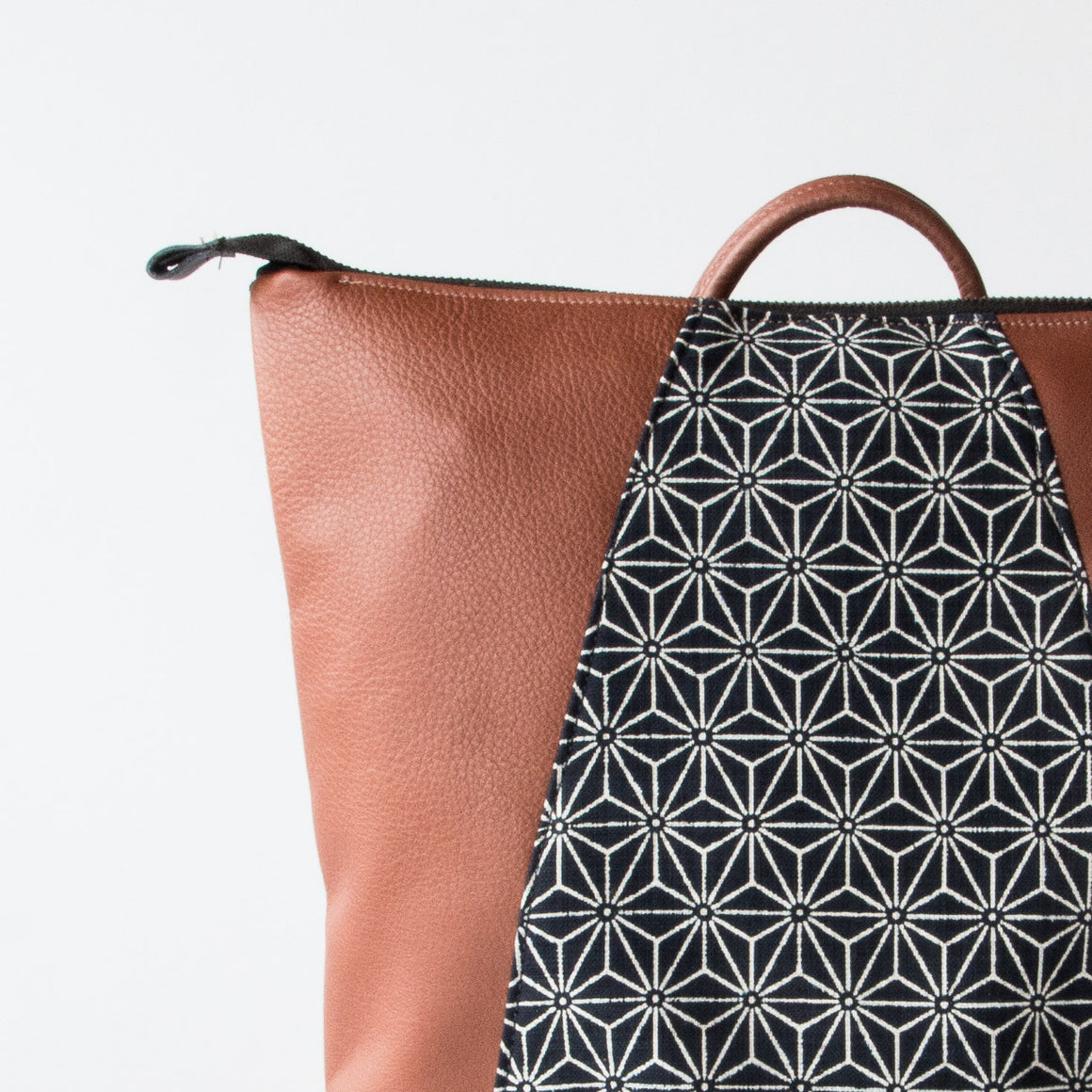 Caramel Leather - Hobart - Backpack / Laptop Bag - Recycled Leather & Japanese Fabric - Sold by Chic & Basta