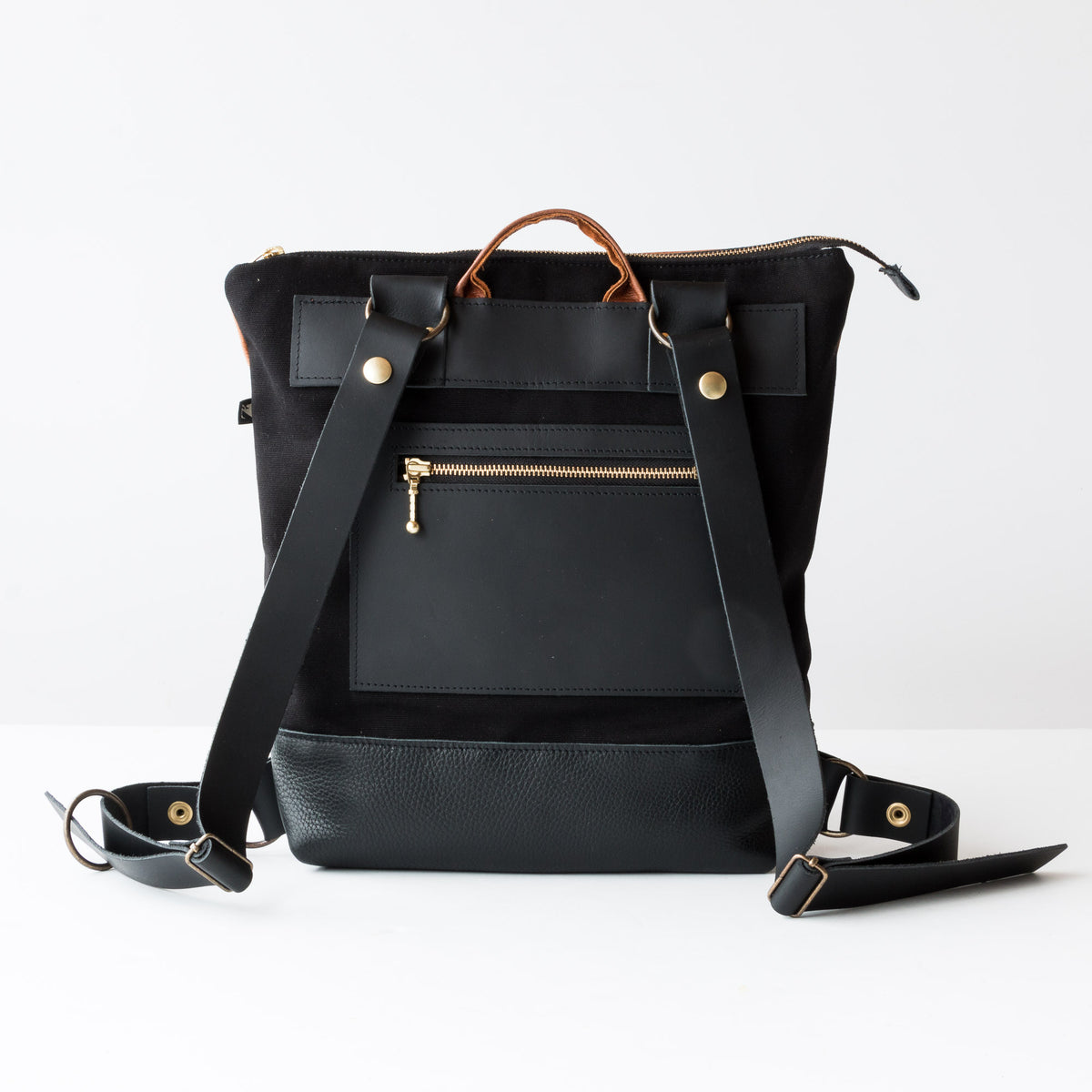 View from Back - Hobart - Backpack / Laptop Bag - Caramel & Black Leather - Sold by Chic & Basta