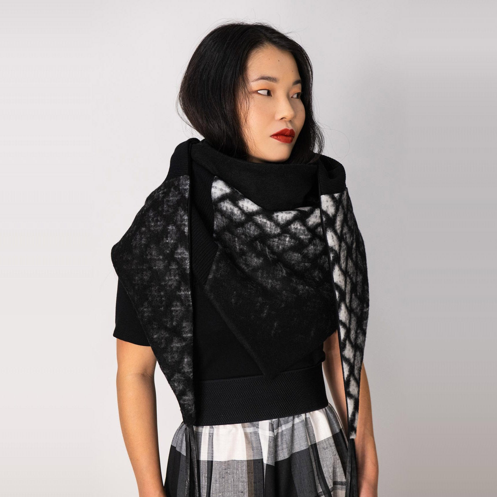 Indiana Scarf / Shawl - Black & White Diamond - Sold by Chic & Basta