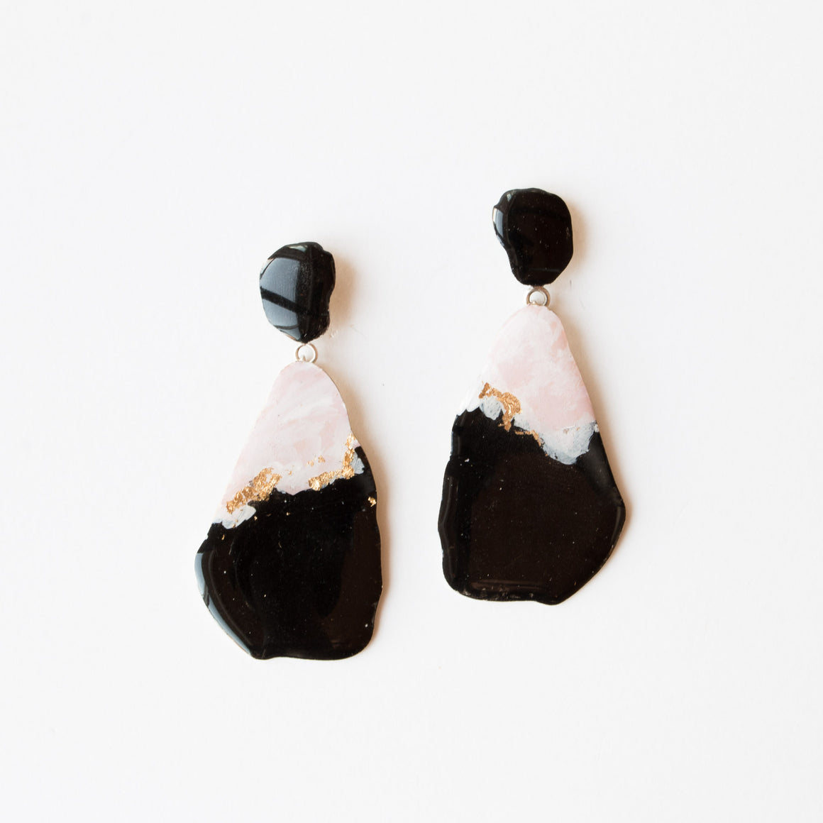 521 - Large Pink, Black & Gold Dangle Earrings