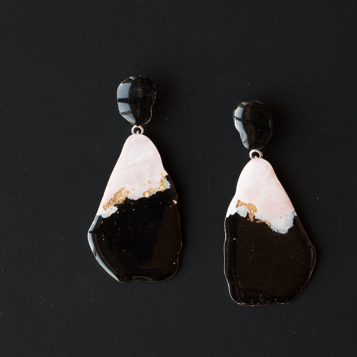 729 - Large Pink, Black & Gold Dangle Earrings on Black Background - Sold by Chic & Basta