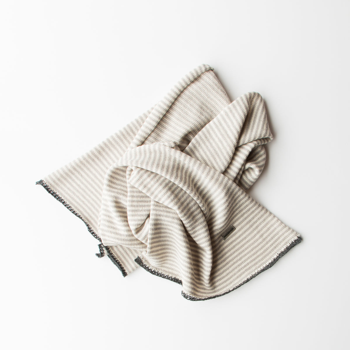 Light Grey, Cream & Charcoal - Baby Alpaca - Unisex Scarf With Fine Stripes & Contrasting Hems - Sold by Chic & Basta