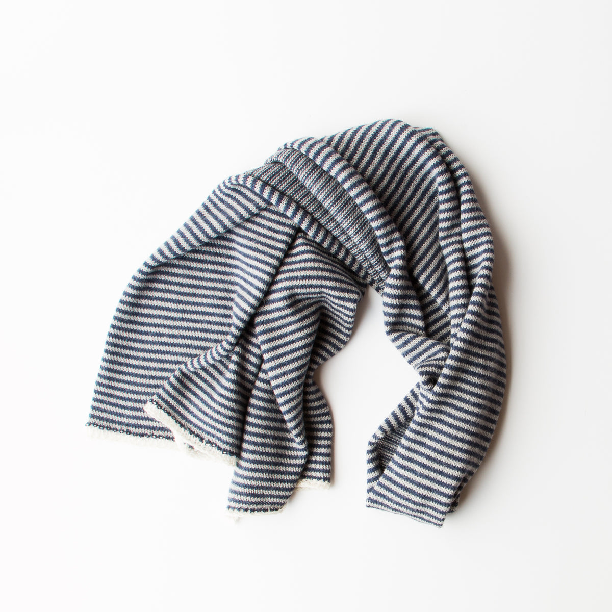 Navy, Light Grey and Cream - Baby Alpaca - Unisex Scarf With Fine Stripes - Sold by Chic & Basta