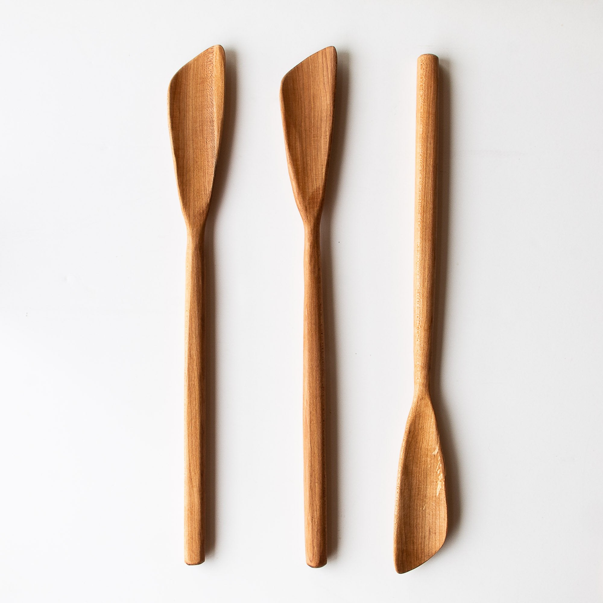 Three Handcrafted Large 16-inch Maple Wood Large Turner Spatulas - Sold by Chic & Basta