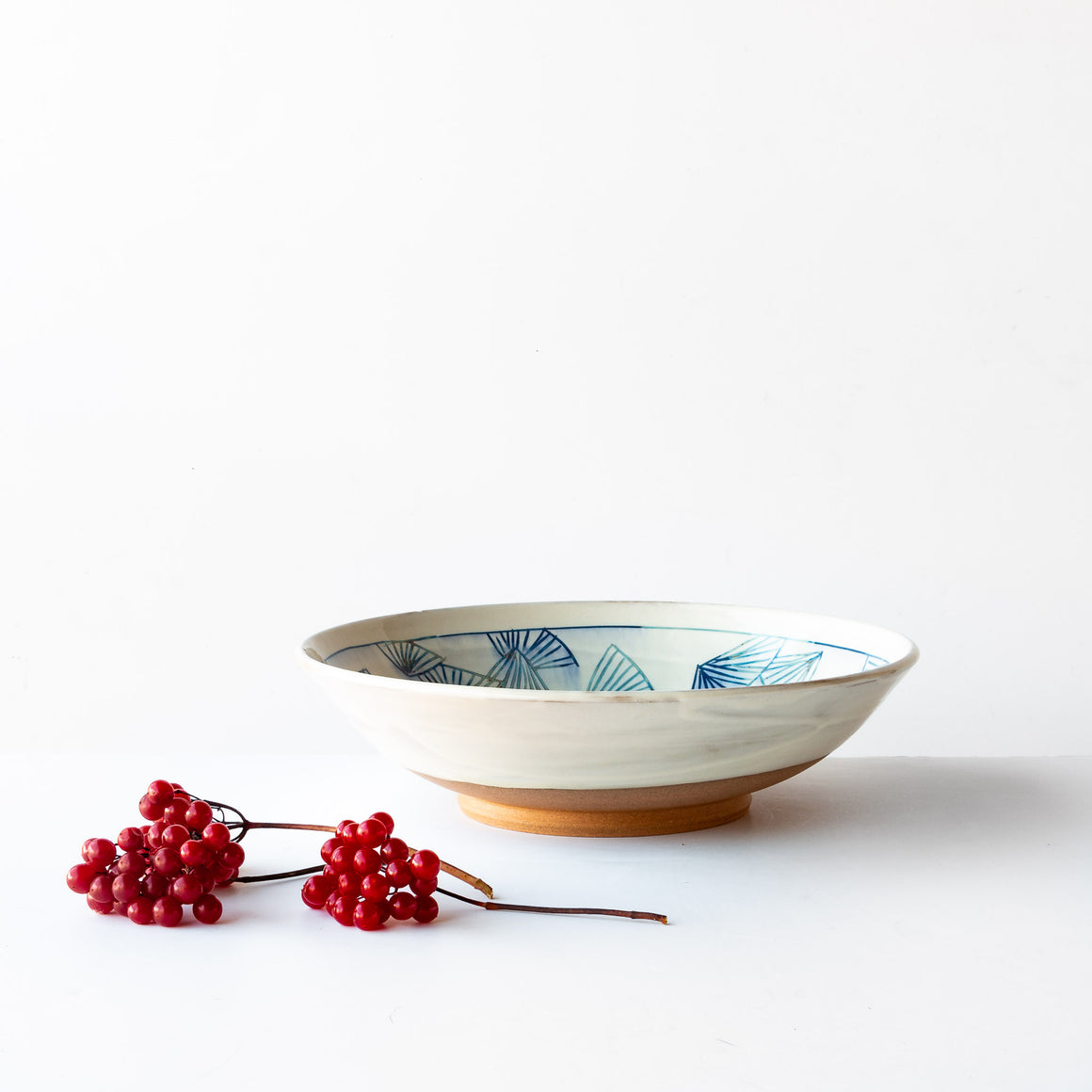 Front View - Large Handcrafted Blue Mishima Presentation Bowl - Sold by Chic & Basta