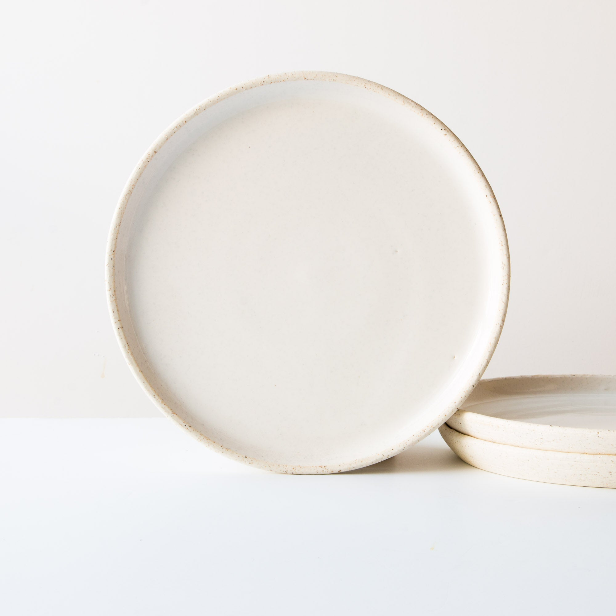 Oatmeal Clay - Soft White Glaze - Large Ceramic Dinner Plates - Handmade in Quebec, Canada