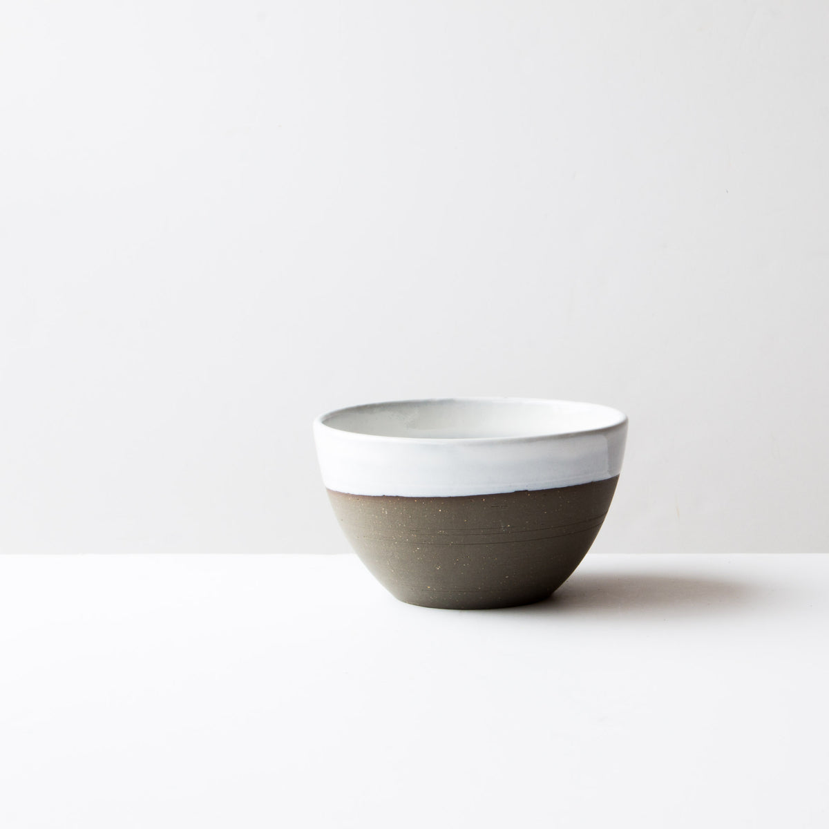 Grey Clay - Creamy White Glaze - Large Ceramic Soup Bowl - Handmade in Québec - Sold by Chic & Basta