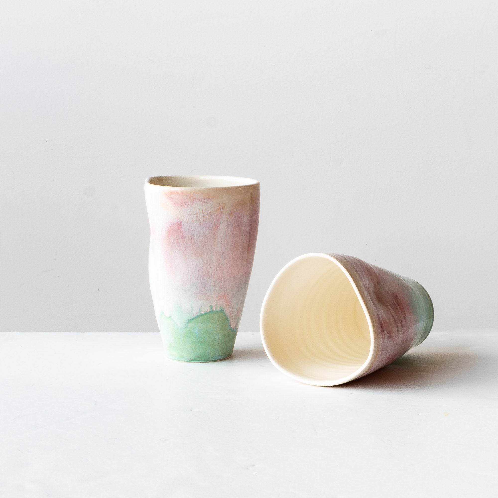 Two Handmade Large Ergonomic Tumblers - Watercolor - Sold by Chic & Basta