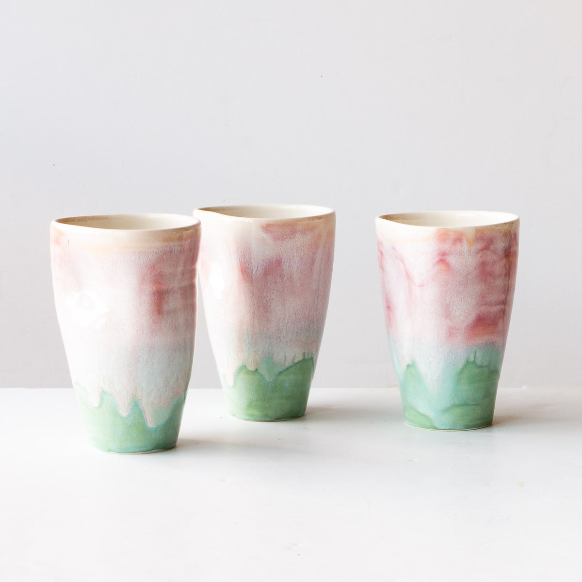 Three Handcrafted Large Ergonomic Tumblers - Watercolor - Sold by Chic & Basta