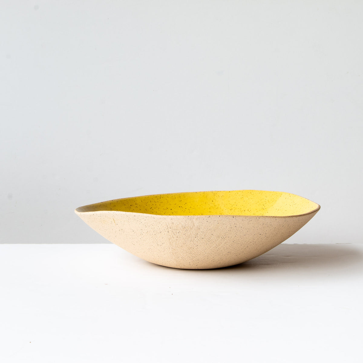 Profile View - Handcrafted Large Freckled Stoneware Fruit Bowl - Sold by Chic & Basta
