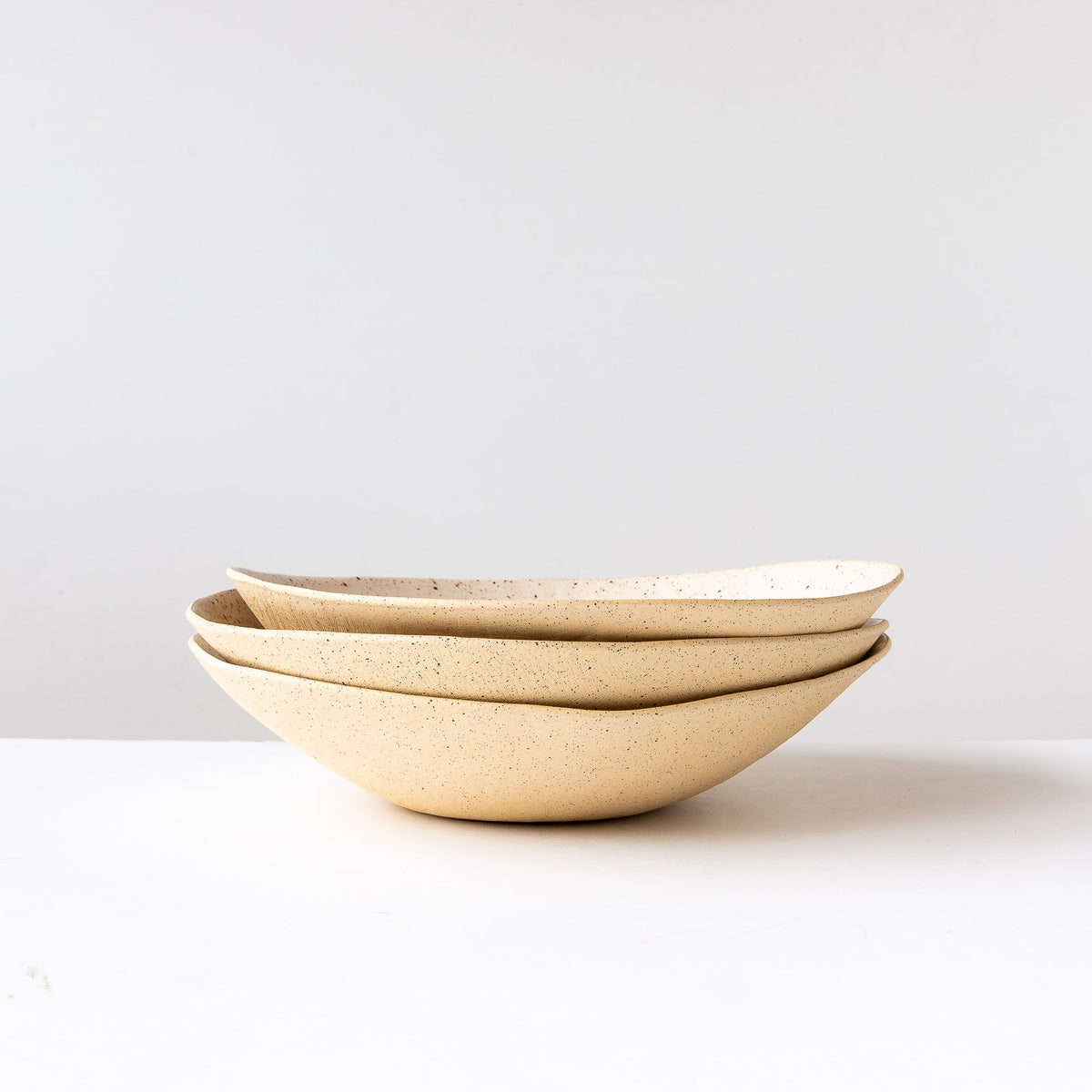 Freckled Off-White - Three Handcrafted Large Freckled Stoneware Fruit Bowls - Sold by Chic & Basta